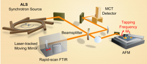 Experimental setup for SINS that includes the synchrotron light source, an atomic force microscope, a rapid-scan Fourier transform infrared spectrometer, a beamsplitter, mirrors and a detector. Image credit: Berkeley Lab (Click image to enlarge)