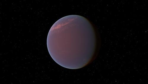 GJ 1214b befindet sich 40 Lichtjahre von der Erde entfernt. DLR-Forscher gehen der Frage nach, ob es sich bei diesem Exoplaneten um einen Gesteinsplaneten mit einer ausgedehnten Atmosphäre, der die Dichte von Wasser hat, handelt. Image quelle: CC BY-SA 3.0.