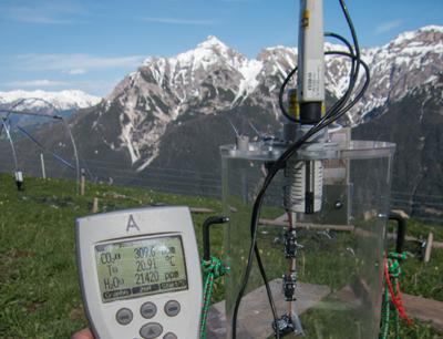 Messungen des CO2-Austauschs zwischen Boden, Pflanze und Atmosphäre auf der Kaserstattalm. (Foto credit: Johannes Ingrisch)