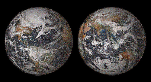 A low-resolution preview of the 3.2-billion-pixel sized NASA Earth Day Global Selfie 2014 photo mosaic. The image is comprised of more than 36,000 individual photos submitted by people around the world. Image credit: NASA/JPL-Caltech/NOAA