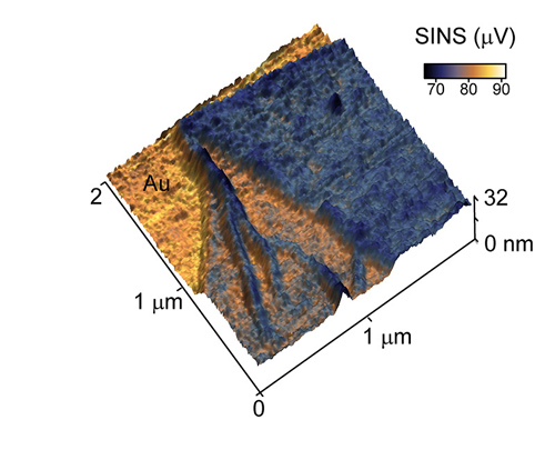 This peptoid nanosheet, produced by Gloria Olivier and Ron Zuckerman at Berkeley Lab, is less than 8 nanometers thick at points. SINS makes it possible to acquire spectroscopic images of these ultra-thin nanosheets for the first time. Image credit: Berkeley Lab