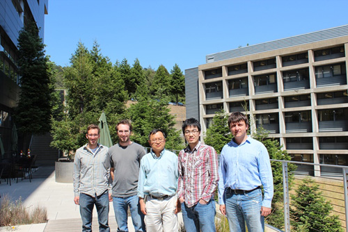 Chris Thompson, Noah Bronstein, Lin-Wang Wang, Yingjie Zhang and Danylo Zherebetskyy at Berkeley Lab's Molecular Foundry. (Photo courtesy of Berkeley Lab)