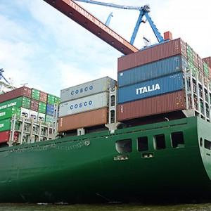 Containerschiff im Hamburger Hafen. Image credit: © Anna Holl / WWF
