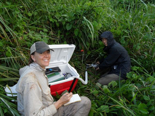 Daniela Cusack, UCLA assistant professor of geography, with then-student Joey Lee, conducting research in Puerto Rico. Image credit: UCLA