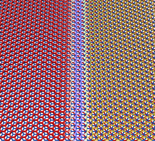 Graphene trilayers can be stacked in two different configurations, which can occur naturally in the same flake. They are separated by a sharp boundary. (Image credit: Pablo San-Jose ICMM-CSIC)