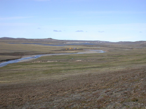 A group of orange tents in the middle of this photograph marks the destination of one of Jaelyn Eberle's expeditions to Aulavik National Park on Banks Island in the western Arctic Ocean. Here is where the Eames Rivers weaves its way into the Arctic Ocean. This area marks one of only two known sites that yield vertebrate marine fossils from the Eocene epoch. Image courtesy of Jaelyn Eberle