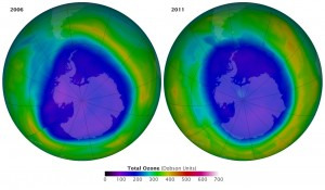 The maps show the Antarctic ozone hole on September 16 in 2006 and 2011, the two years with the lowest ozone concentrations ever measured. They were made with data from the Ozone Monitoring Instrument on Aura. Image Credit: NASA's Earth Observatory (Click image to enlarge)