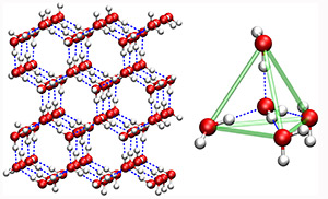 Normal ice (left) contains water molecules linked into ring-like structures via hydrogen bonds (dashed blue lines) between the oxygen atoms (red beads) and hydrogen atoms (white beads) of neighboring molecules, with six water molecules per ring. Each water molecule in ice also has four neighbors that form a tetrahedron (right), with a center molecule linked via hydrogen bonds to four neighboring molecules. The green lines indicate the edges of the tetrahedron. Water molecules in liquid water form distorted tetrahedrons and ring structures that can contain more or less than six molecules per ring. (Image courtesy of Jeremy Palmer)