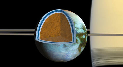Researchers found that Titan's ice shell, which overlies a very salty ocean, varies in thickness around the moon, suggesting the crust is in the process of becoming rigid. Image credit: NASA/JPL -Caltech/SSI/Univ. of Arizona/G. Mitri/University of Nantes