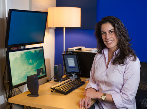 Courtney Crooks, a senior research scientist at GTRI, led the project to redesign the telemedicine system at Marcus Autism Center. Image credit: Rob Felt, Georgia Tech