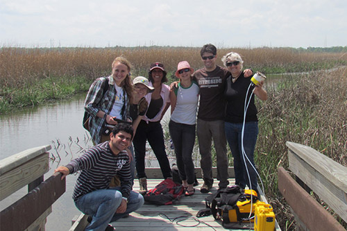 Through a U.S. Department of Agriculture Borlaug Fellowship, Karla Toleda of Mexico (right) has teamed with UD scientists led by Rodrigo Vargas (second from right). Image credit: University of Delaware