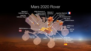 This diagram shows components of the investigations payload for NASA's Mars 2020 rover mission. Image credit: NASA/JPL-Caltech (Click image to enlarge)
