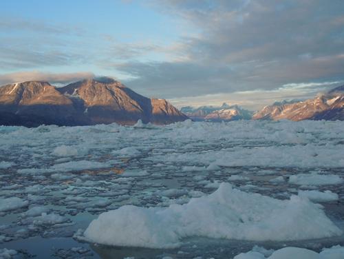 Sermilik Fjord, into which Helheim Glaciers drains, in August 2011. (Photo courtsey of Nicholas Beaird)