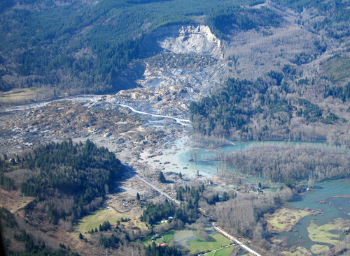 An aerial view of the slide site at Oso, Washington, from March 31, 2014. Image credit: Gordon Farquharson / UW