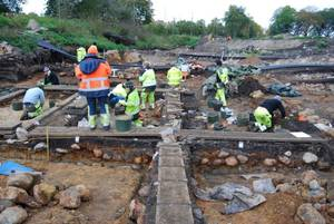 Ausgrabung in Motala, Schweden, hier wurden die sieben ca. 8.000 Jahre alten Jäger und Sammler gefunden, deren Erbgut die Forscher untersuchten. Bild credit: Fredrik Hallgren