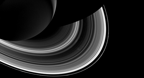 Cassini spied just as many regular, faint clumps in Saturn's narrow F ring, like those pictured here, as Voyager did, but it saw hardly any of the long, bright clumps that were common in Voyager images. Image credit: NASA/JPL-Caltech/SSI
