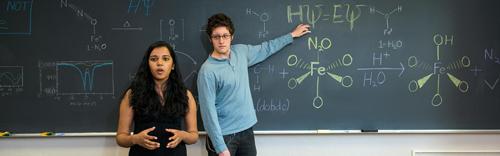 Graduate students Pragya Verma (l.) and Joshua Borycz performed the key calculations and analysis. Image credit: University of Minnesota