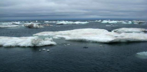 The sea ice in July 2014 as it begins to retreat from the Alaskan coast. Photo credit: J. Thomson / UW