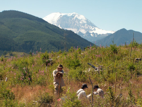 Researchers install sensors that measure the Earth's electrical conductivity or resistivity at a site northeast of Washington state's Mount Rainier, the tallest volcano in the Cascade Range at 14,410 feet. Geophysicist Phil Wannamaker, of the University of Utah's Energy & Geoscience Institute, co-authored a study in the July 17 issue of Nature providing the most detailed look yet at the volcanic plumbing system that supplies molten rock to a magma chamber beneath the volcano. Photo Credit: Phil Wannamaker, University of Utah Energy & Geoscience Institute