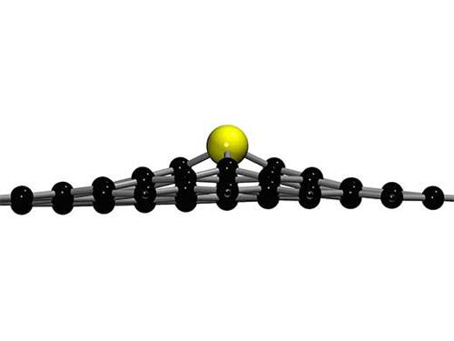 Aufgrund seiner relativen Größe, ragt das Siliziumatom aus der Graphen-Ebene heraus. (Image copyright: Toma Susi, Universität Wien)