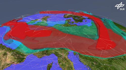 Möglicher Luftverkehr über Europa am 17.04.2010 bei verbesserter Aschevorhersage und unter Anwendung von Re-Routing-Verfahren, die auch Flüge von hochfliegenden Flugzeugen über der Aschewolke erlauben. Die Farbabstufungen in der Aschewolkendarstellung geben die vorhergesagten Asche-Konzentrationen an, eingeteilt nach den drei vom Vulcanic Ash Advisory Center (VAAC) in London empfohlen Konzentrationsstufen: low (Cyan), medium (Grau),  high (Rot). Image credit: DLR