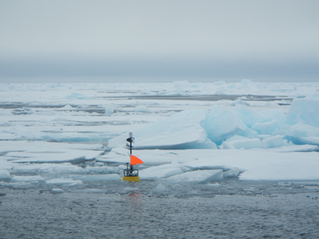 A wave sensor developed by Thomson during a 2013 test. He is deploying the instruments this summer in the Arctic Ocean. Photo credit: J. Thomson / UW