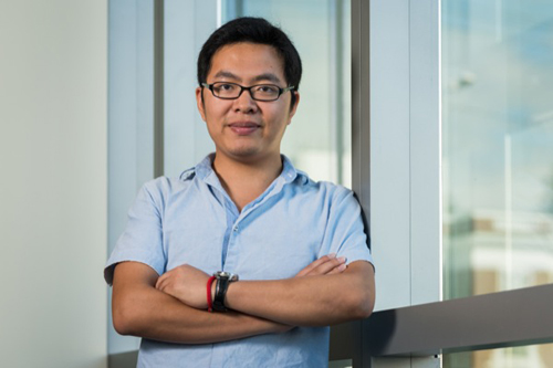 Doctoral candidate Chi Yan is developing a simulation to optimize offshore wind farm layout. Photo by Evan Krape