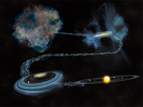 University of Michigan researchers have theorized that up to half of Earth's water is older than the sun. It likely formed in the cold molecular cloud that spawned our solar system. Image credit: Bill Saxton, NSF/AUI/NRAO