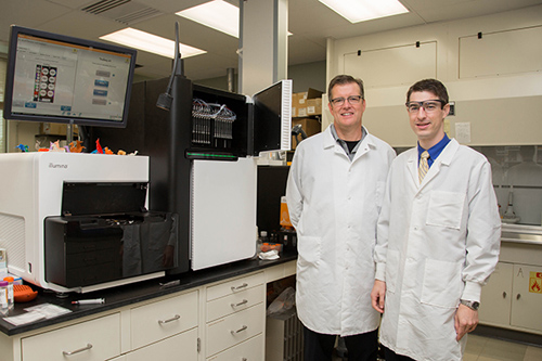 UD's Eric Wommack (left) and Eric Sakowski, a doctoral student, have discovered that the ancient gene RNR provides important biological insights into the characteristics of unknown viruses in the sea. Photos and images by Lindsay Yeager