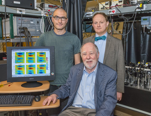 From left, Nicholas Lewis, Graham Fleming and Tom Oliver developed 2D-EV, a spectroscopy technique that enables electronic and molecular dynamics during a photochemical reaction to be simultaneously monitored on a femtosecond time-scale. (Photo by Roy Kaltschmidt)