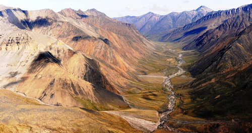 Headwaters of the Sagavanirktok River, North Slope of the Brooks Range, Arctic Alaska. Image credit: George W. Kling