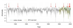 A history (1428-2003; black line) of winter climate in the California Current ecosystem derived from blue oak tree ring data. Positive anomalies represent years with above-average upwelling and marine productivity; negative values represent years with below-average upwelling and marine productivity. Gray shading indicates uncertainty. The green line is an instrumental record of winter climate, and the yellow line is an instrumental record of winter sea level at San Francisco (SFO), which is unusually long and a strong indicator of winter climate. Red arrows indicate the 10 most extreme negative anomalies in the winter climate history, corresponding to years 1441, 1524, 1825, 1862, 1868, 1941, 1978, 1993, 1995, and 1998. Image credit: University of Texas at Austin (Click image to enlarge)
