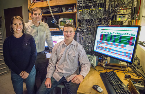 From left, Sydney Schreppler, Dan Stamper-Kurn and Nicolas Spethmann were part of a team that detected the smallest force ever measured using a unique optical trapping system that provides ultracold atoms. (Photo by Roy Kaltschmidt)