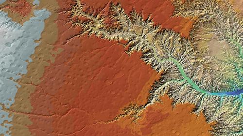 Der Palo Duro Canyon beeindruckt auf diesem TanDEM-X-Höhenmodell durch seine feinen Verästelungen. Tatsächlich ist er der zweitgrößte Canyon der USA und zieht durch seine außergewöhnliche geologische Struktur, in Jahrtausenden durch Wind und das Wasser des Red River geformt, jährlich viele Besucher ins nördliche Texas. Image credit: DLR