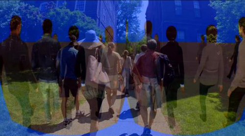 A virtual perspective. Researchers at Brown have developed a wireless virtual reality system to better understand how pedestrians interact with one another and generate patterns of crowd movement. Image credit: Brown University