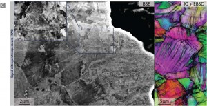 At 77K, back‐scattered electron images taken in the wake of a propagated crack show the formation of pronounced cell structures resulting from dislocation activity that includes deformation‐induced nano‐twinning. Image courtesy of Ritchie group (Click image to enlarge)