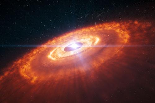 Diese künstlerische Darstellung zeigt einen jungen Stern, der von einer protoplanetaren Scheibe umgeben ist, in der Planeten entstehen. Astronomen konnten mit der 15-Kilometer-Basislinie von ALMA die erste detaillierte Aufnahme einer protoplanetaren Scheibe anfertigen, die eine komplexe Struktur enthüllt. Konzentrische Kreise aus Gas mit Lücken, die Planetenentstehung andeuten, sind in der künstlerischen Darstellung zu sehen und wurden von Computersimulationen vorhergesagt. Jetzt wurden diese Strukturen von ALMA zum ersten Mal beobachtet. Image credit: ESO/L. Calçada