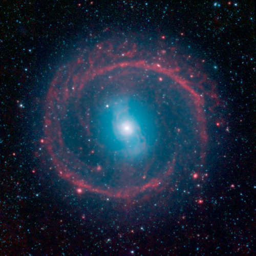 A new image from NASA's Spitzer Space Telescope, taken in infrared light, shows where the action is taking place in galaxy NGC 1291. Image credit: NASA/JPL-Caltech