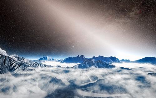 Diese fiktive Himmelsansicht von einem Planeten um einen nahegelegenen Stern zeigt das helle Leuchten von exozodiakalem Licht bis in die Milchstraße hinein. Exozodiakales Licht ist Sternlicht, das von Staub reflektiert wird, der aus Kollisionen zwischen Asteroiden und der Verdampfung von Kometen resultiert. Die Anwesenheit so großer Mengen an Staub in den inneren Regionen um einige Sterne könnte in der Zukunft ein Hindernis bei der direkten Abbildung von erdähnlichen Planeten darstellen. Image credit: ESO/L. Calçada