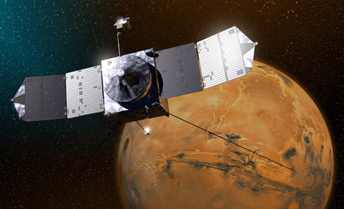 This artist's concept depicts NASA's Mars Atmosphere and Volatile EvolutioN (MAVEN) spacecraft near Mars. Image credit: NASA/GSFC