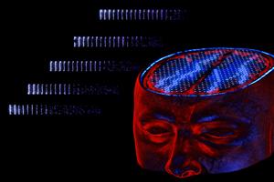 Resonanz in der Aktivität von Nervenzellen (links) erlaubt, dass Impulse im Gehirn über weite Entfernungen übertragen werden, etwa von der Rückseite des Gehirns in Richtung Stirn während der Verarbeitung optischer Reize. Bild credit: Gunnar Grah//BLBT