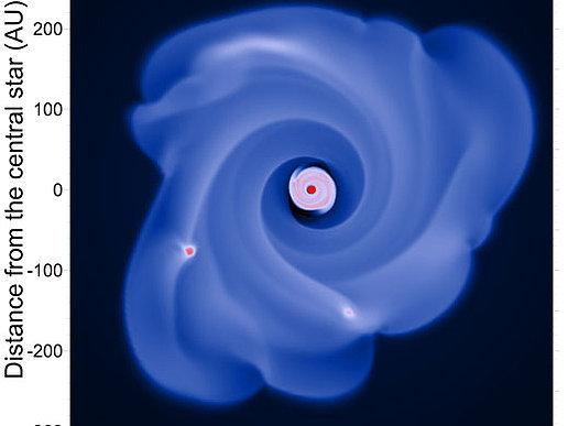 Das Bild zeigt Resultate einer hydrodynamischen Simulation: Die kleine Scheibe im Inneren rotiert um den Stern im Zentrum. Die äußere, spiralförmig verzerrte Scheibe wurde von äußeren Gasströmen auf einen rückläufigen Umlauf gezwungen. Zwischen den beiden Teilen bildet sich eine markante Lücke. Image credit: Universität Wien