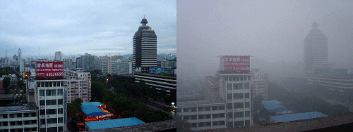 Two photos taken in the same location in Beijing in August 2005. The photograph on the left was taken after it had rained for two days. The right photograph shows smog covering Beijing in what would otherwise be a sunny day. Photo credit: Bobak Ha'Eri (Source: Wikipedia)