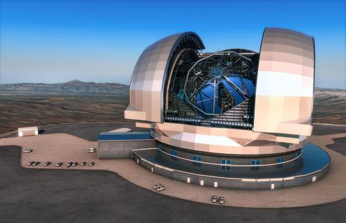 Diese künstlerische Darstellung zeigt das European Extremely Large Telescope (E-ELT) in seiner Kuppel. Das E-ELT wird Teleskop für sichtbares Licht und das nahe Infrarot mit einen Hauptspiegel von 39 Metern Durchmesser auf dem Cerro Armazones in der chilenischen Atacamawüste werden, 20 Kilometer vom Very Large Telescope auf dem Cerro Paranal entfernt. Es wird gewissermaßen das größte Auge sein, das die Menschheit auf den Himmel richtet. Image credit: ESO/L. Calçada
