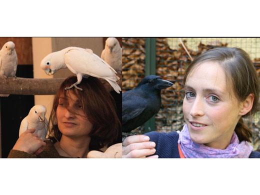 Links: Alice Auersperg; Rechts: Auguste von Bayern mit Goffini-Kakadus & junger Neukaledonischer Krähe (Image copyright: Julie Auersperg; Auguste von Bayern)