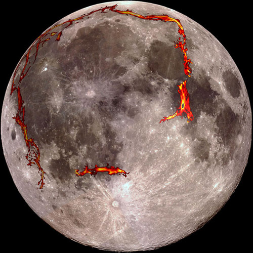 The full Moon as seen from the Earth, with the Procellarum border structures — the gravitational anomalies — superimposed in red. Image credit: Kopernik Observatory/NASA/Colorado School of Mines/MIT/JPL/Goddard Space Flight Center