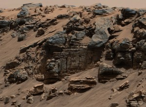This evenly layered rock photographed by the Mast Camera (Mastcam) on NASA's Curiosity Mars Rover on Aug. 7, 2014, shows a pattern typical of a lake-floor sedimentary deposit not far from where flowing water entered a lake. NASA/JPL-Caltech/MSSS (Click image to enlarge)