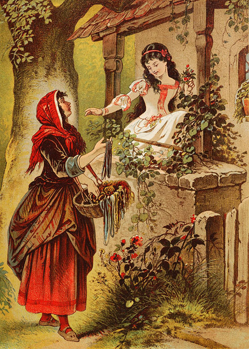 The Queen in disguise, offering a poisoned apple to Snow White. Image credit: Leutemann or Offterdinger, photo by Harke (Source: Wikipedia)