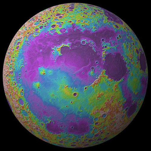 Ocean of storms.  A topographic map of the Moon (low elevations in purple, high in red) shows extensive lava flows in Oceanus Procellarum. New data from the GRAIL spacecraft suggests the region was formed by ancient volcanic activity, not by a large impactor as had long been suspected. The image was rendered with data from NASA's Lunar Reconnaissance Orbiter and Lunar Orbiting Laster Altimeter. Image credit: Jay Dickson/Brown University