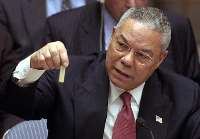 Colin Powell holding a model vial of anthrax while giving a presentation to the United Nations Security Council. Photo credit: United States Government (Source: Commons.Wikimedia)